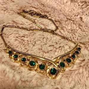 Antique emerald and gold necklace